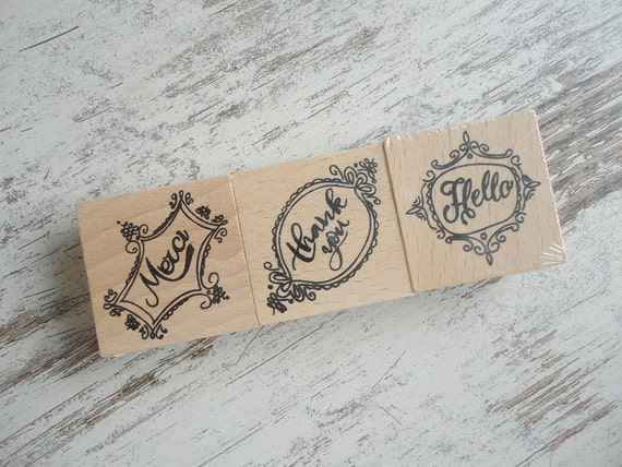 "Wooden stamps set ""merci"""