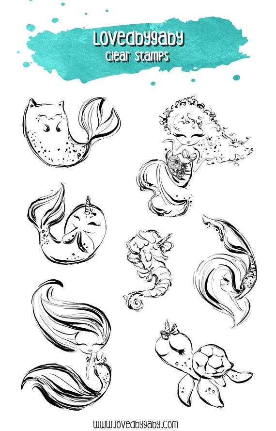 "LovedbyGaby clear stamps ""Baby mermaids"""