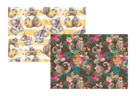 "A4 LovedbyGaby scrapbook paperset ""koala and kangaroo"""
