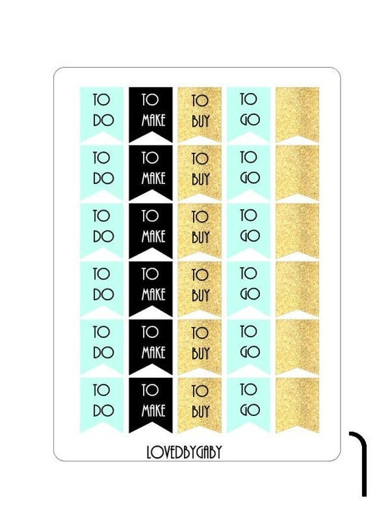 LovedbyGaby mint/gold/black planning stickers