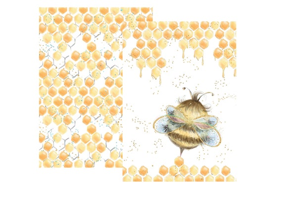 "A4 LovedbyGaby scrapbook papers ""Bees"""