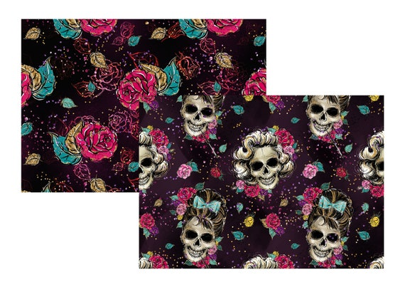 "A4 LovedbyGaby scrapbook papers ""skulls"""