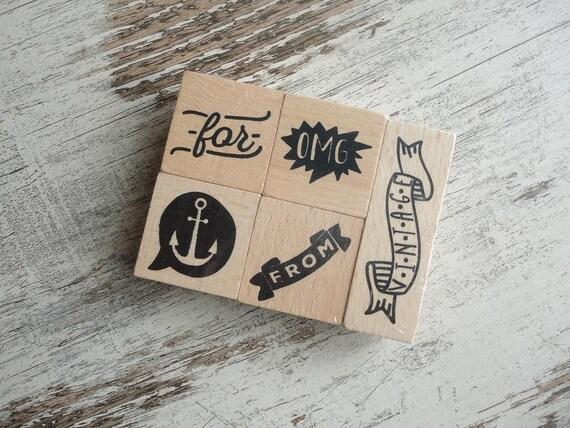 """Wooden stamps set """"OMG"""""""
