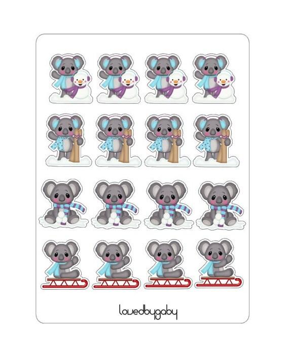 LovedbyGaby winter koala stickers
