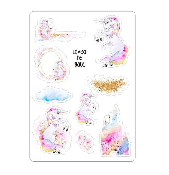LovedbyGaby stickers pastel unicorns