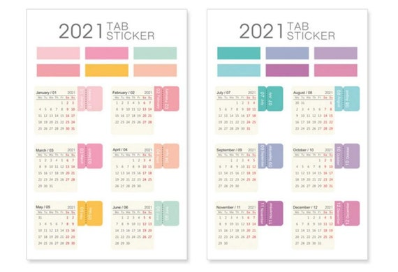 2021/2020 tab stickers colorful