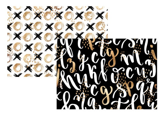 """A4 LovedbyGaby scrapbook paper """"Black/white and gold"""""""