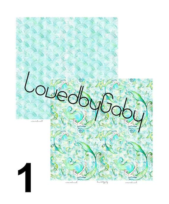 """Lovedbygaby scrapbook paper """"mermaids mint"""""""