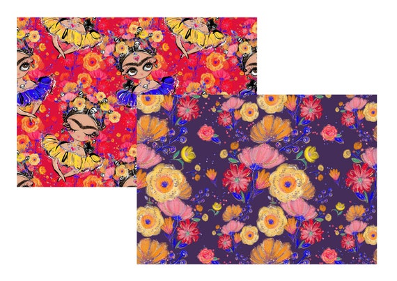 "A4 LovedbyGaby scrapbook papers ""Frida"""