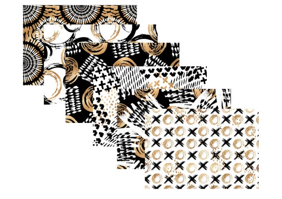 "A4 LovedbyGaby scrapbook paperset ""Black/white and gold"""
