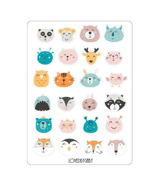 "LovedbyGaby stickers ""funny animal faces"""