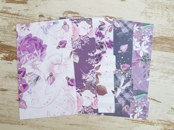 "A5/ A5 slim LovedbyGaby dividers ""purple floral"""