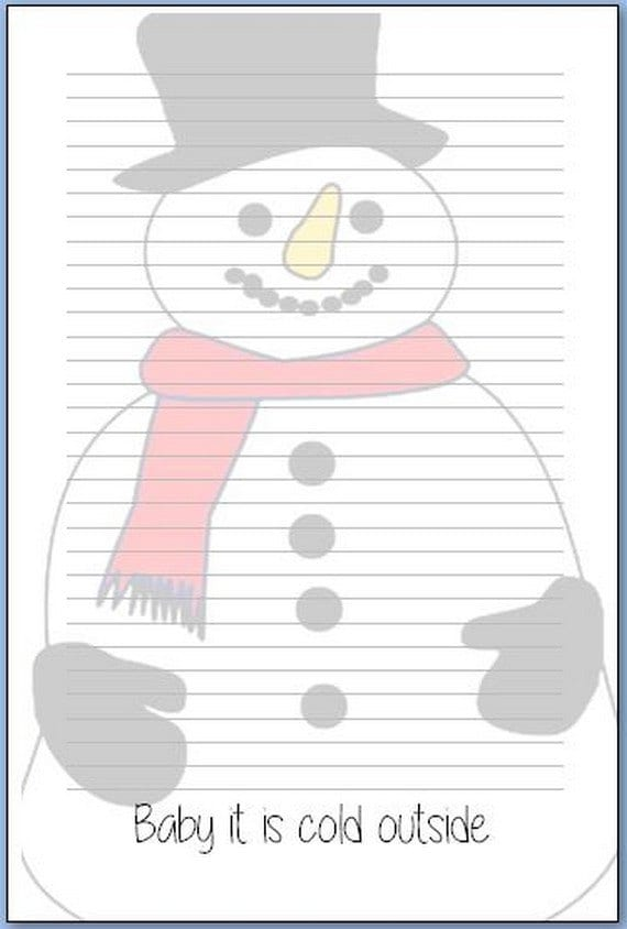 "Notepads or inserts ""baby it is cold outside"""