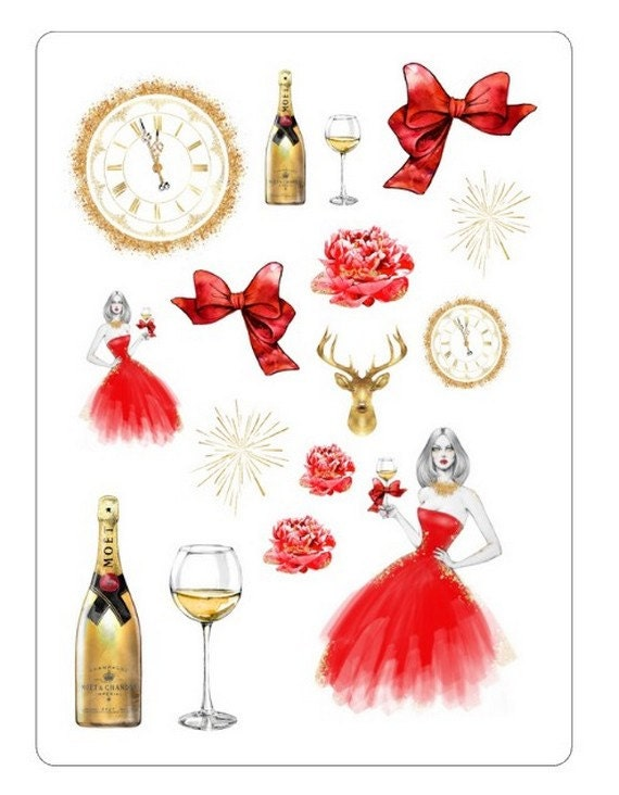 """LovedbyGaby """"new years eve"""" stickers"""