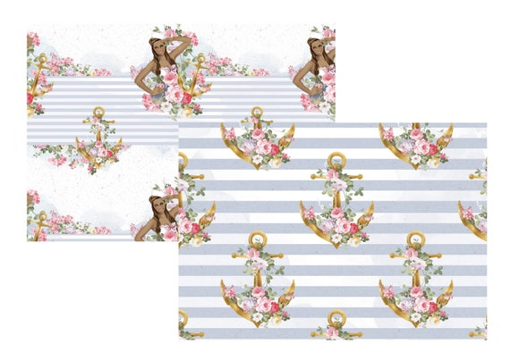 """A4 LovedbyGaby scrapbook paper """"nautical"""""""