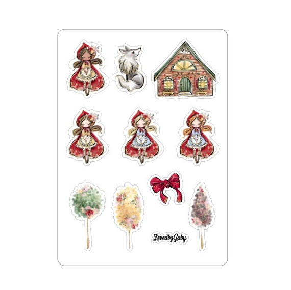 """LovedbyGaby stickers """"Little red hiding hood"""""""