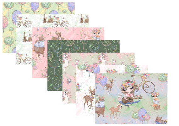 """A4 LovedbyGaby scrapbook papers """"Springland"""""""