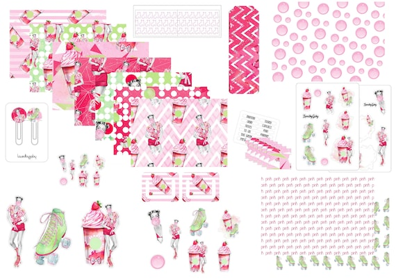 "LovedbyGaby plannerkit ""Bubblegum and rollerskates"""