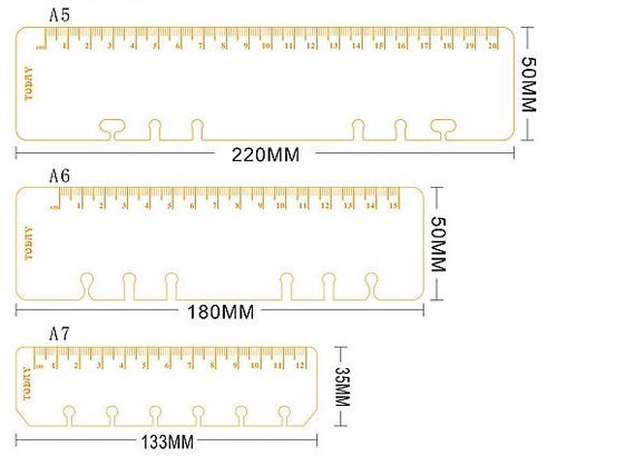 Ringbound rulers transparent/gold