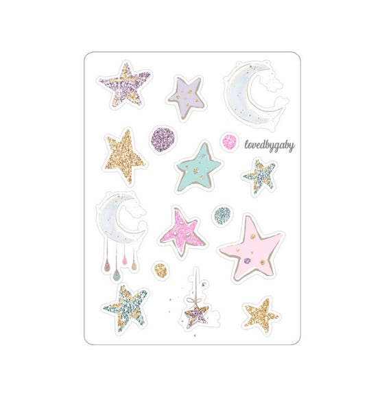 "LovedbyGaby stickers ""moon and stars"""