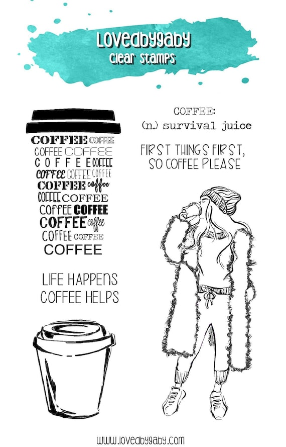 """LovedbyGaby clear stamps """"coffee girl"""""""