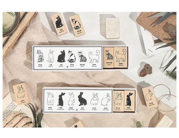Cats or Bunnies  wooden stamp set