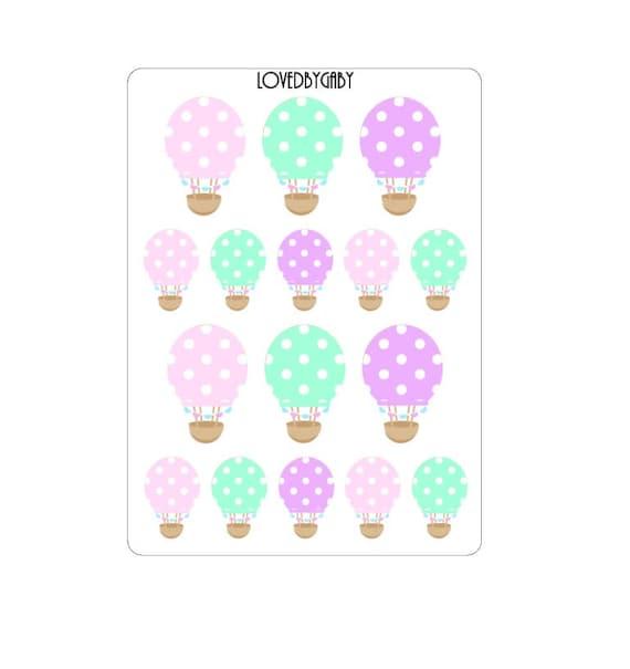 HotAir Balloon Stickers Pastel