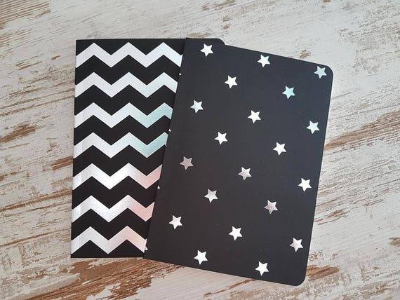 "Notebooks black/silver ""chevron and stars"""