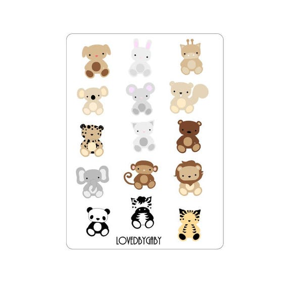 "LovedbyGaby stickers ""animals in the wild"""