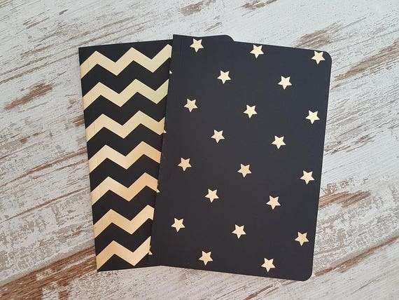 "Notebooks black/gold ""chevron and stars"""