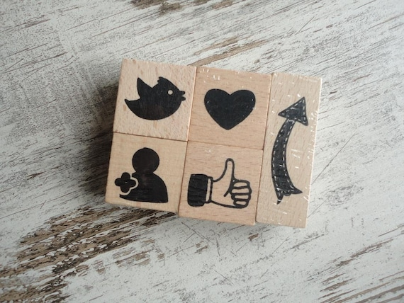 "Wooden stamps set ""social media"""