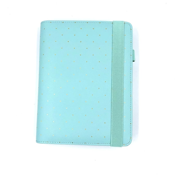 A5 mint planner with golden dots
