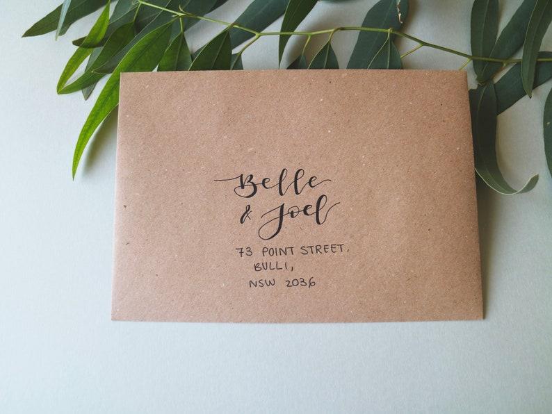 white or kraft brown  Modern Calligraphy Addressed Invitation or RSVP envelopes Hand Written Wedding Envelopes  Hand Lettered Envelopes