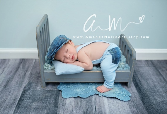 Uk Newborn Baby Photography Props Tweed Suspender Braced Trousers+Flat Cap