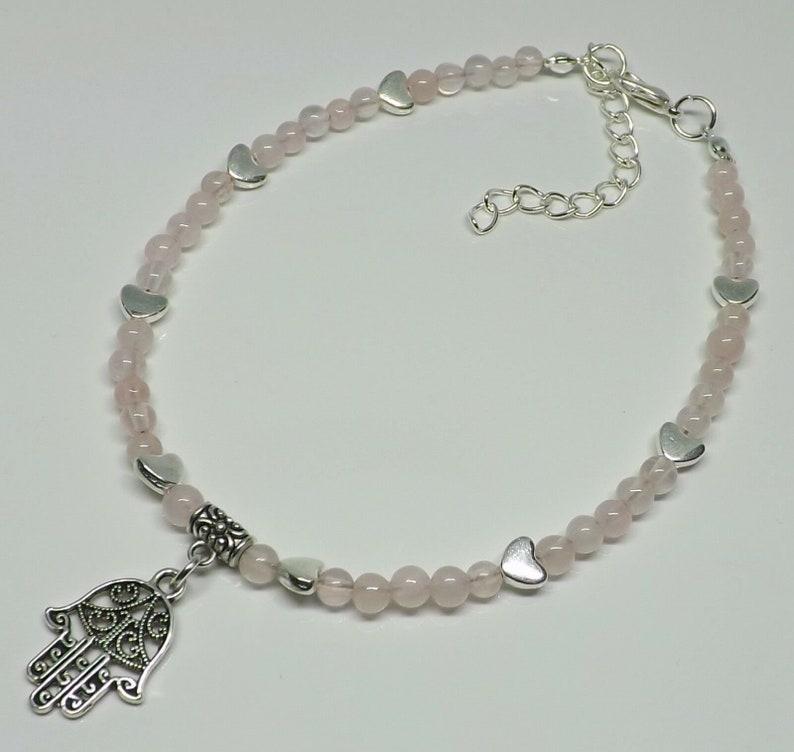 Retro Hippie Boho Silver Tone Hand of Hamsa Bead /& Charm Bracelet or Anklet