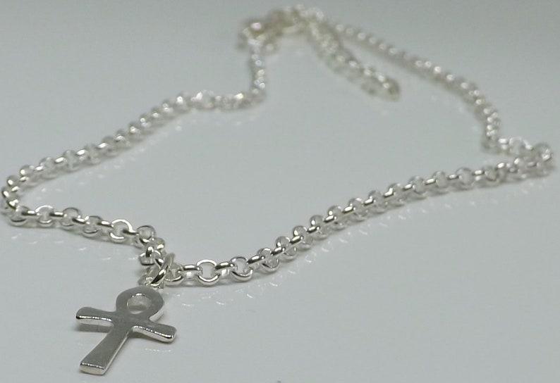 Sterling Silver Ankh Cross Charm Anklet Ankle Bracelet Gypsy Anklet Boho Anklet Gift for Her