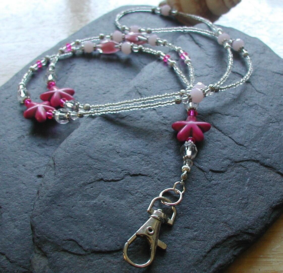 Id Card Beads: English Rose Glass Beads Pink Handmade ID Lanyard Badge