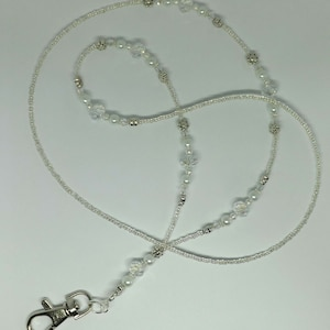 Crystal Silver Ice Handcrafted Beaded Lanyard