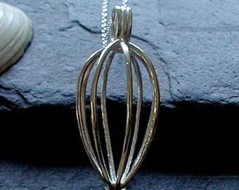 Sterling Silver Tumblestone Cage Locket Healing Stone Sea Glass Treasure Cage Necklace
