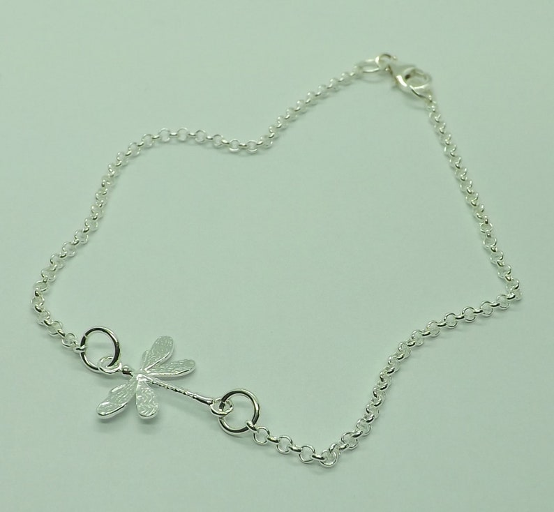 Sterling Silver Dragonfly Anklet Ankle Bracelet Sterling Silver Anklet Dragonfly Gift for Her Dragonfly Jewellery
