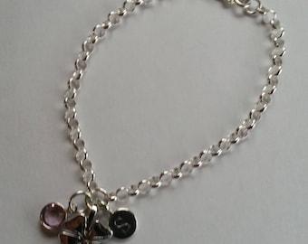 Sterling Silver Lucky Clover Shamrock Personalised Initial Birthstone Bracelet