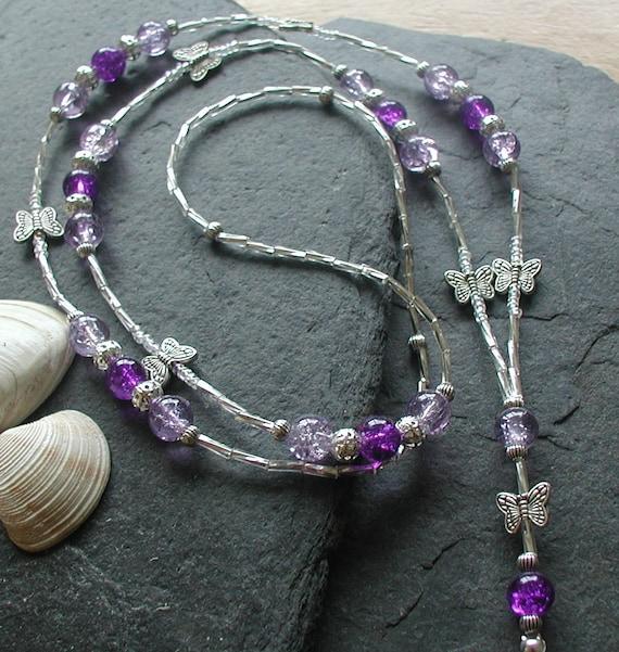 Id Card Beads: Lilac Purple Glass Beads Butterfly ID Lanyard Badge Holder