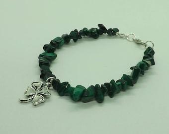 Sterling Silver Malachite Gemstone Chips Beads Lucky Clover Shamrock Bracelet