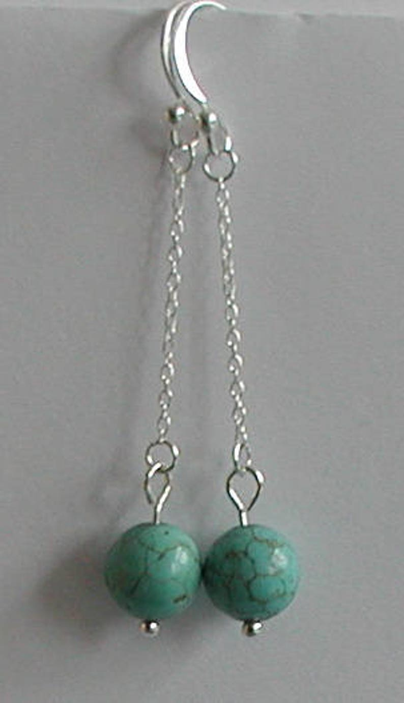 Sterling Silver and Tuquoise Gemstone Beads Dangle Earrings