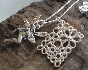 Sterling Silver Flower Fairy Pendant Necklace