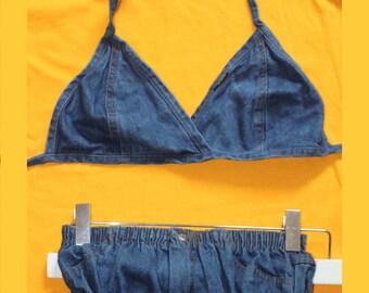 58143f9053cd2 1990's does 1970's Vintage SMACK Denim Halter Neck Bikini Patch low rise  Hotpants Size 12 US Summer Beach swim Pockets 24' /26'