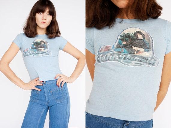 1970s Vintage  top T-shirt JOHN TRAVOLTA 80s Blue
