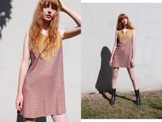 60s 70s Vintage Mini Dress Sparkly stripes MOD PSY