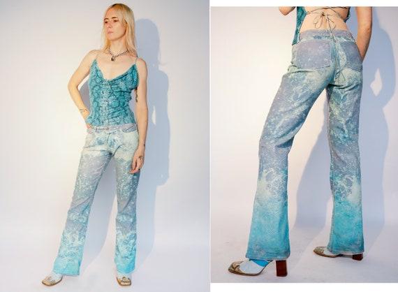 ROBERTO CAVALLI Jeans Y2k snakeskin glitter flares
