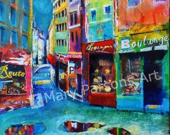 Print: Montmartre street scene - colourful Paris print - after the Rain -shop windows